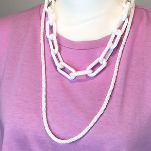 White Chain link Necklace